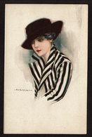 Illustrateur NANNI - Dame Au Chapeau Et Veste Rayée - Circulée En 1919 - 2 Scans - Nanni