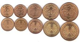 Kazakhstan - Set 5 Coins 2 5 10 20 50 Tiyn 1993 XF With Dots Lemberg-Zp - Kasachstan