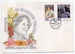 SEYCHELLES -- 1990 -- FDC  90 Glorious Years  --Reine Mère --- - Seychelles (1976-...)