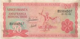 Burundi : 20 Francs 01-10-1989 : Quelques Taches - Burundi