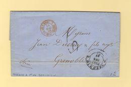 Marque D Entree - Toscane 1 Pont De Beauvoisin - Lettre De Florence - 14 Mai 1856 - Poststempel (Briefe)