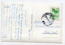 1965 YUGOSLAVIA,CROATIA,VIROVITICA,TPO 22 ZAGREB-OSIJEK,USED POSTCARD SENT TO NOVI SAD - Yugoslavia