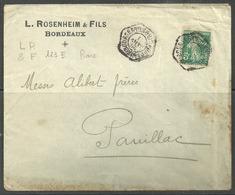 Perforé LR:& F 123 Complet Sur Lettre à Entête L.Rosenheim & Fils - France
