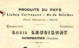 LAUBIGNAT Lichen Carragaen, Os De Seiches, Varech   NOIRMOUTIER 85 - Bills Of Exchange
