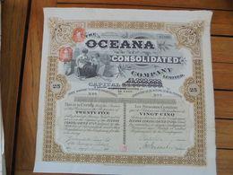 AFRIQUE DU SUD - LONDFRES 1910 - THE OCEANA CONSOLIDATED - TITRE DE 25 ACTIONS - Acciones & Títulos