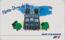 Télécarte JAPON / 110-016 -  AIR FRANCE - NOTRE DAME DE PARIS 1  / Peinture - JAPAN AIRLINES Phonecard - Aviation Avion - Aerei