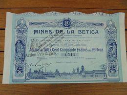 ESPAGNE - PROVINCE DE ALMERIA - MINES DE LA BETICA - ACTION 250 FRS - PARIS 1909 - Acciones & Títulos