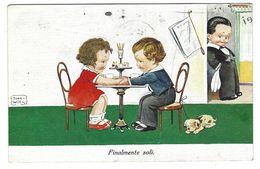 CLA516 -   BAMBINI CHILDREN DISEGNATA COLORATA FINALMENTE SOLI INNAMORATI 1931 - Cartes Humoristiques