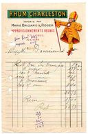 Gers / Facture Avec Publicité : RHUM CHARLESTON Importé Par Marie BRIZARD & Roger, J. KNAEBEL à AUCH. - Publicités