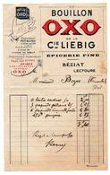 Gers / Facture Avec Publicité : Bouillon OXO De La Cie LIEBIG, Epicerie Fine BEZIAT, LECTOURE. - Publicités