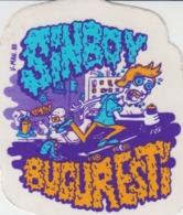 Kunstler Illustrateur - Adhesive Sticker - Signed V.Man - Man On A Skateboard Drawing Graffiti - 86/75 Mm - Vignettes Autocollantes