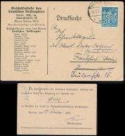 18929 DR Infla 10 Mark EF Karte Volksopfer Ruhrgebietsbesetzung Berlin - Frankfurt 1923, Bedarfserhaltung. - Brieven En Documenten