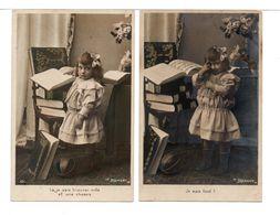CPA - FILLETTE - 2 Cartes - Scènes & Paysages