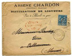 MARNE De VERTUS Cachet Rouge RETOUR A L ENVOYEUR 4165 Sur Env. De FRESNAY SUR SARTHE Du 1/08/1889 - 1877-1920: Periodo Semi Moderno