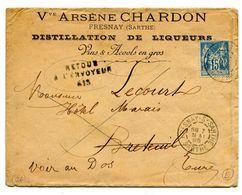 EURE De BRETEUIL SUR ITON Cachet RETOUR A L ENVOYEUR 613 Sur Env. De FRESNAY SUR SARTHE Du 7/05/1895 - 1877-1920: Periodo Semi Moderno
