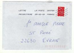 Enveloppe FRANCE Oblitération LA POSTE 39078A 25/02/2009 - Sellado Mecánica (Otros)