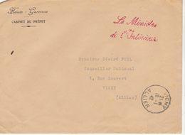 """(2 Scans) ESC/ Préfet De Hte-Garonne, """"Le Ministre De L'Intérieur """"cad Vichy 1942 - Postmark Collection (Covers)"""