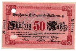 50 Mark 17/8/1918 Helbronn SPL - [11] Local Banknote Issues