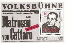 République Démocratique Allemande, Bloc Feuillet N°95,  Friedrich Wolf, Auteur Dramatique, Cinéaste - Blokken