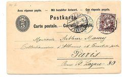 CH932 / SCHWEIZ - Inland-Ganzsache Mit Zusatzmarke, Aufgewertet 1885 Nach Paris  Ex Lugano - 1882-1906 Coat Of Arms, Standing Helvetia & UPU