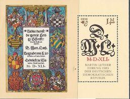 République Démocratique Allemande, Bloc Feuillet N°71,  Anniversaire De La Naissance De Martin Luther, Religion - Blokken