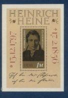 République Démocratique Allemande, Bloc Feuillet N° 32, Henrich Heine, Poésie, Littérature - Blokken