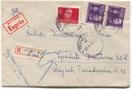 OSIJEK - ZAGREB, Year 1947, DF YUGOSLAVIA  REGISTERED HITNO EXPRES, OLD COVER - Kroatien