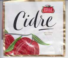 Label - Beer - Cidre - Stella Artois - Belgian Recipe - Was Detached From The Glass - 100/92 Mm - Cerveza