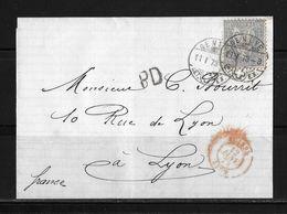 1862-1881 Sitzende Helvetia (gezähnt) → 1873 PD-Faltbriefhülle GENÈVE (John Dufour & Cie.) Nach Lyon  ►SBK-41◄ - 1862-1881 Sitted Helvetia (perforates)