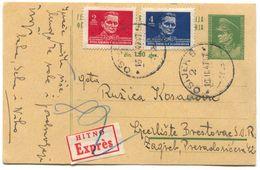 OSIJEK - ZAGREB, Year 1947, DF YUGOSLAVIA  POSTAL STATIONERY  HITNO EXPRES - Kroatien