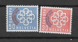 1959 MNH Switserland MI 681-2 European PTT Conference - Europese Gedachte