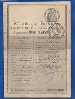 Permis De Chasse   Année 1920 - Vieux Papiers