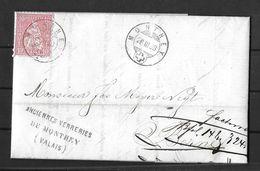 1862-1881 Sitzende Helvetia (gezähnt) → 1868 Factura Faltbrief MONTHEY (Anciennes Verreries De Monthey) Nach Berne - 1862-1881 Sitted Helvetia (perforates)