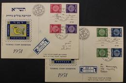 Israel, MiNr. 23-26 Kehrdrucke Mit Zwischensteg, Briefstücke - Israel