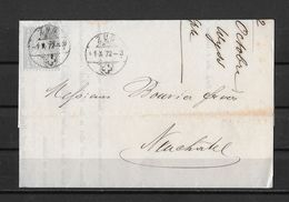 1862-1881 Sitzende Helvetia (gezähnt) → 1872 P.P. Faltbrief ZUG (Alf.Wyss Fürsprech.) Nach Neuchatel   ►SBK-28◄ - 1862-1881 Sitted Helvetia (perforates)