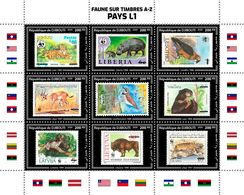 DJIBOUTI 2020 - Tiger, Fauna On Stamps L1. Official Issue. - Felinos