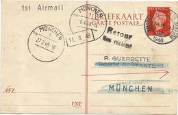 NEDERLAND ENTIER 12 1/2C BRIEFKAART AMSTERDAM 1948 TO GERMANY MUNCHEN 1ST AIRMAIL - Periode 1891-1948 (Wilhelmina)