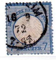 Allemagne / N 10 / 7Kreuzer Bleu / Oblitéré - Amincissement Central - Gebraucht