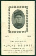 WO1 / WW1 - Doodsprentje Alfons De Smet - / West-Nieuwkerke - Gesneuvelde - Décès