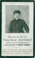 WO1 / WW1 - Doodsprentje Victor Karel Houtekiet - Lissewege / Diksmuide - Gesneuvelde - Décès