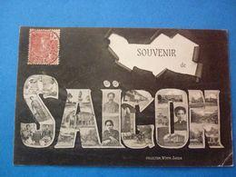 VIETNAM CPA SOUVENIR DE SAIGON MULTIVUES  VOYAGEE 1906 TIMBREE PETIT PLI COIN BAS DROIT - Viêt-Nam