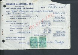 DOCUMENT COMMERCIAL 1985 DE CARNEIRO & MIRANDA GIAO VILA DO CONDE SUR TIMBRES FISCAUX DU PORTUGAL : - Fiscaux