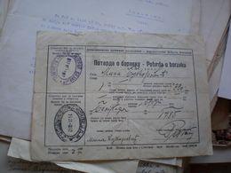Jugoslovenske Drzavne Zeleznice Train Potvrda O Boravku  Beograd Skoplje 1940 - Documenti Storici