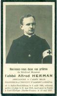 WO1 / WW1 - Doodsprentje Alfred Herman - Aubin-Neufchâteau / Yvré-l'Eveque (FR) - Gesneuvelde - Décès