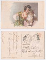 Q. Cenni - Elda Cenni Portrait, Femme Avec Tigre, Donna Con Tigre, Illustree, Signee, Elegant, Fashion, 1918 - Autres Illustrateurs