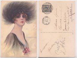 T. Corbella - Donna Con Cappello Di Piume, Femme, Portrait Avec Chapeau, Plumes, Feather Hat, Illustree, Signee, 1924 - Corbella, T.