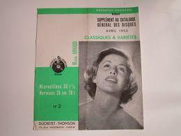 Michèle ARNAUD - Disques DUCRETET-THOMSON - Supplément De Avril 1953 - Les Derniers Disques Parus (dépliant 3 Volets) - Musica & Strumenti