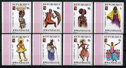 RWANDA 1975 Poste N° 682 à 689 ** Neufs MNH Superbes C 4.50 € Themabelga. Danses Costumes Dances Suits - Ruanda
