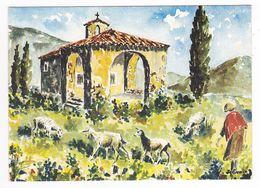 Aquarelle De Provence Illustrateur J. Suain Vieille Chapelle Bergère Et Ses Chèvres En 1979 - Autres Illustrateurs