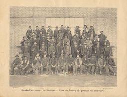 """1900  Hts. Fourneaux De Saulnes   Raty - Mine De Sancy Trieux  """" Mineurs Attendant La  Remonte  """" - Documenti Storici"""